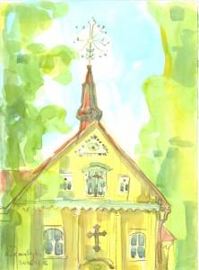 Skaudvilė. Šv. Kryžiaus bažnyčia. 2006, akvarelė, 42x29,7