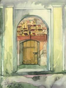 Tytuvėnai. Varteliai į miestą bažnyčios šventoriaus arkadinės galerijos sienoje. 1990, akvarelė, 48x36