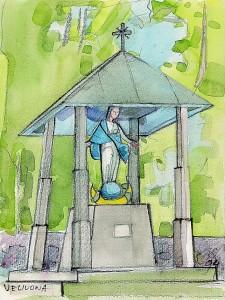 Veliuona. Atminimo koplyčia bažnyčios šventoriuje. 1994, akvarelė, 36x24