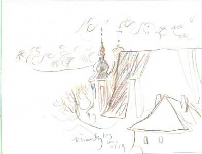 Šv. Mykolo bažnyčios bokštai. K.K.Šiaulytis, 2006, pieštukai
